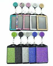 Full Bling Rhinestone 2 IN 1 Vertical ID Badge Holder with Retractable Reel