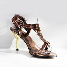 WOMENS LADIES STRAPPY SLING BACKS T-BAR HIGH HEEL COURT SHOES SANDALS SIZE 3-8