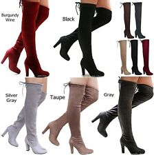 New Women FDs Stretchy Over the Knee Thigh High Chunky Heel Drawstring Boot 5-10