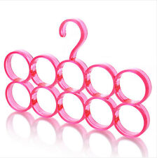 10 Rings Hole Scarf Hanger Holder Closet Organizer Hook Clothes Tie Belt Shawl