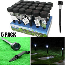 LOT 5 Black LED Solar Powered Outdoor Lawn Lights for Garden Path Landscape WA