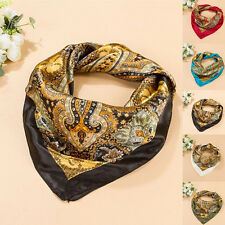 Women Satin Square Large Headband Kerchief 35'' x35'' Scarf Luxury Wrap Bandana