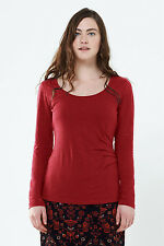 **SALE** NOMADS fair trade ORGANIC cotton LONG sleeve TOP t-shirt PT46 spice RED