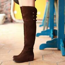 Womens Over The Knee Thigh Hidden Heel Slouch Cosplay Faux Suede Boots