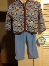 BUMBLE & BIRDIE 2PC Brown/Blue Long Sleeves Zip Front Jacket and Pants, NWT