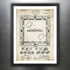 MONOPOLY BOARD GAME 1935 US PATENT PRINT POSTER HASBRO PARKER BROTHERS
