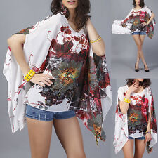 Women Sexy Batwing Sleeve Tops Blouse Summer Loose Chiffon Floral Print T Shirt