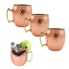 4 X Pure Handmade Moscow Mule Hammered Copper Mug Glass Cup Brass Handle 16 OZ