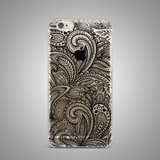 Floral Flower Mandala Soft TPU Rubber Silicone Clear Cover Back Case For iPhone