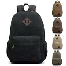 Men's Vintage Backpack Rucksack Laptop Shoulder Travel Camping Canvas Bag New b8