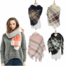 Cashmere Checked Cozy Wrap Shawl Plaid Blanket Oversized Tartan Scarf Pashmina