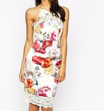 BNWT Lipsy VIP Floral Satin Lace Cut Out Back Shift Dress *SALE* *RRP £120*