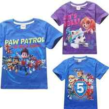 Cute Toddler Kids Boys Girls Cartoon Paw Patrol Short Sleeve T-shirt Cotton Tops