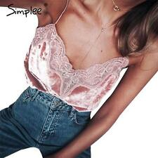 Simplee Women Velvet Lace Camisole Tank Tops Sexy V Neck Strappy Camis Crop Tops