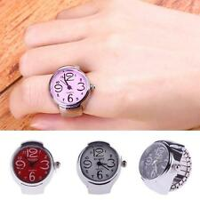 Lovely Creative Fashion Lady Girl Steel Round Elastic Quartz Finger Ring Watch