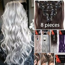 100% Real Natural Full Head Clip in Hair Extensions 8 Pieces Black Blonde Brown