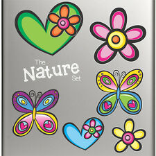 Happiness Magnets! Set of 6 Colourful Heart Flower and Butterfly Fridge Magnets