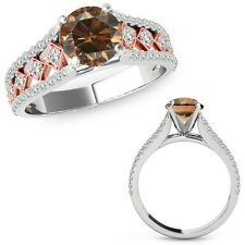 1.50 Ct Champagne Color Diamond Beautiful Solitaire Ring Band 14K Two Tone Gold