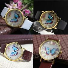 Stylish Numerals Faux Leather Band Wrist Watch Butterfly Dial Quartz Analog