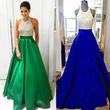 New Halter Beaded Long Prom dress Satin Backless Formal Evening Gown Custom Size