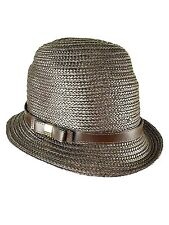 Nine West Womens Bow Pleather Band Straw Cloche (OS- Choose SZ/Color.