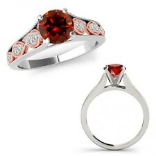 0.75 Ct Red Diamond Filigree Solitaire Halo Bridal Ring Band 14K Two Tone Gold