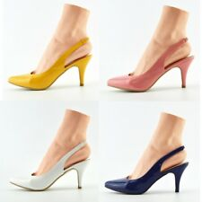 Womens Mid Heels Wedding Party Slingback Prom Wedding Office Pumps Shoes