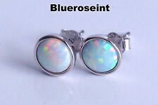 925 Sterling Silver Round Shape White Fire Opal Inlay Stud Post Earrings