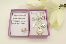Nanny.Gran.Friend.Mum Birthday Gift.Personalised Lilac Heart Sixpence Charm