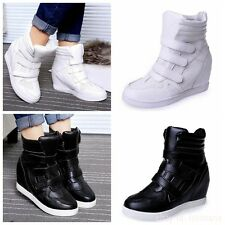New Fashion Womens High Top Hidden Wedge Sneakers Casual Ankle Shoes Boots