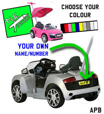 Personalised Number Licence Plate fits kids Audi R8 PUSHBUGGY ride-on car