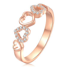 LOVE Heart Rose Gold Plated White CZ 925 Sterling Silver Engagement Ring Sz 5-10
