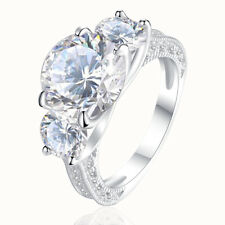 6.0 Ct Round White CZ 925 Sterling Silver Engagement Wedding Ring Band Size 5-10