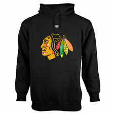 Old Time Hockey Chicago Blackhawks Black Big Logo with Crest Pullover Hoodie