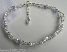 Stretch white pearl beaded anklet ankle bracelet bridal something blue
