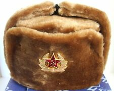 Authentic Russian Military Camel Brown KGB Ushanka Hat W/ Soviet Red Army Badge