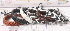 New Fishion Jewelry Adjustable Unisex Real Leather Bracelet Cuff Knit Bangles