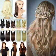Hidden Wire Hairpiece Secret Curly Straight Hair Extensions Half Full Head wavy