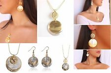 Earrings and Necklace Set Mixed Metal Hammered Round Pendant Silver Gold plated