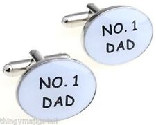 PAIR OF NEW No 1 DAD CUFFLINKS SHIRT NOVELTY FATHERS DAY XMAS GIFT NUMBER No1 UK