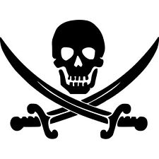 Jolly Roger Skull Vinyl Sticker Decal Pirate Boat Flag  - Choose Size & Color