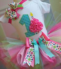 1st Birthday Cupcake Candle Onesie Tutu Outfit FREE Hair Bow Personalize