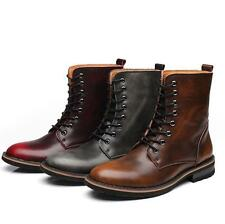 Vintage Knight Mens Real Leather Oxfords Lace Up Military Riding High Top Boots