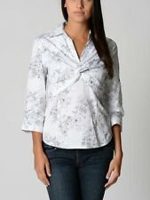 BNWT LADIES WHITE FLORAL PATTERN STRETCH SHIRT BLOUSE SIZE 12 14 16 3/4 SLEEVE