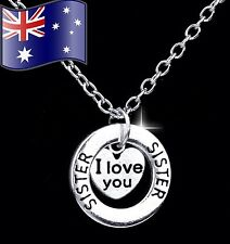 SISTER I LOVE YOU Heart Pendant 925 Sterling Silver Chain Necklace Sister Gift