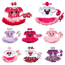 3PCS Baby Minnie Mouse Romper Dress Girls Birthday Party Headband Shoes Outfits