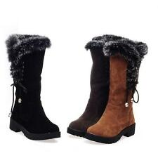 Vintage Winter Warm Snow Boots Thicken Side Lace Up Platform Fur Lining Boots