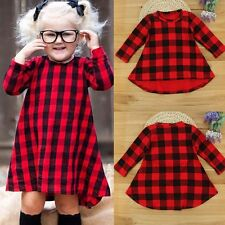 Kid Toddler Girls Tartan Plaid Long Sleeves Pageant Party Dresses Swing Dress