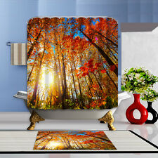 Autumn scenery Shower Curtain Polyester Waterproof Bathroom Bath Home Free Rings