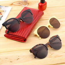 @Retro Black Lens Vintage Men Women Round Frame Sunglasses Glasses Eyewear@S